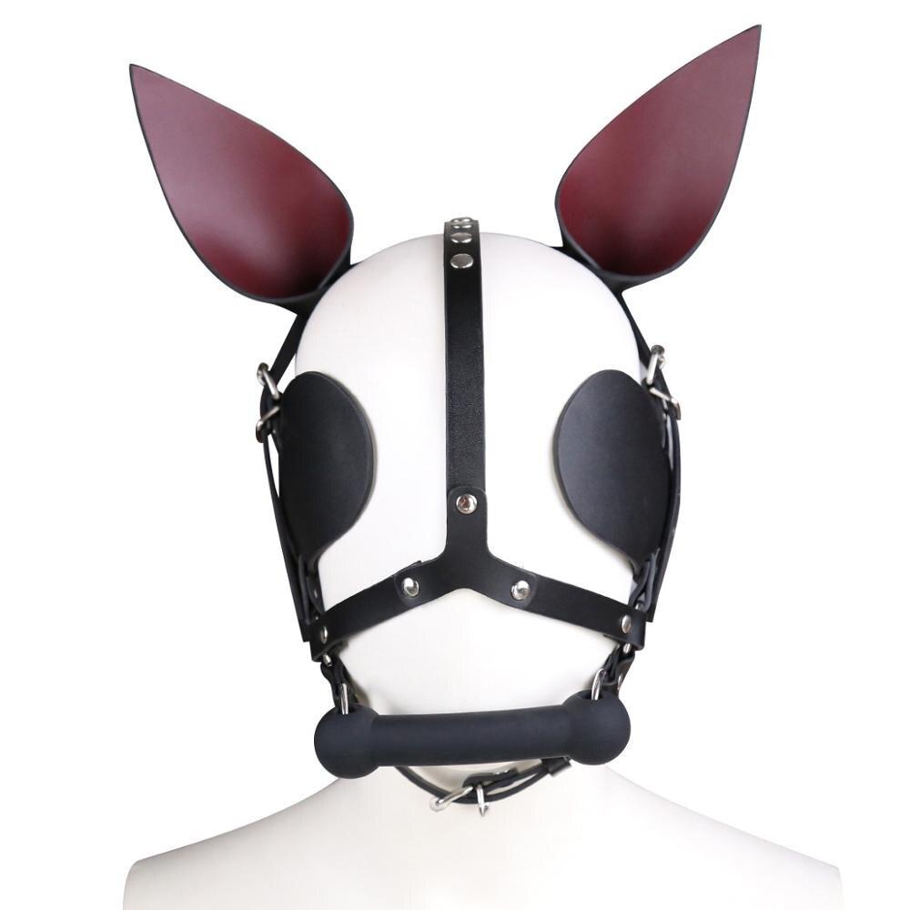 Cosplay Leather head harness dog gag Mouth plug saddlery Fork Flail Dog ear Headgear bdsm Bandage Fetish sex toys for couples
