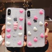 Tfshining 3D Heart Korean Glitter Phone Case for iphone X XS Max XR Stylish TPU Soft Girly 6 6s 7 8 Plus Capa