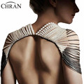 Chran New Sexy Body Armor Scarf Pendant Ladies Pearl Bib Shoulder Necklace Gold Silver Harness Slave Body Chain Jewelry BDC813