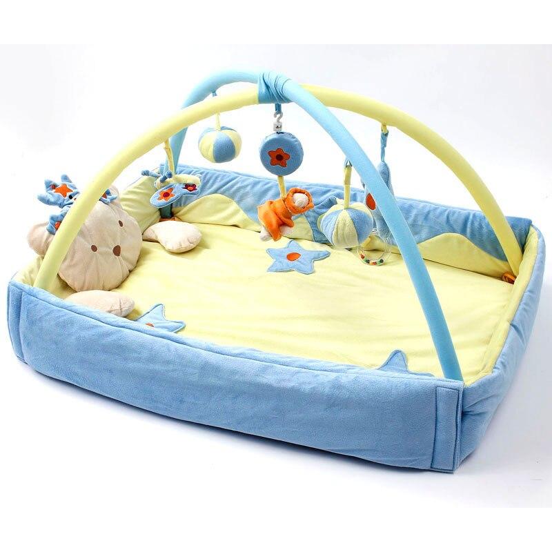 Activité bébé Gym tapis pour enfants développement multifonctionnel tapis de couverture de bande dessinée avec hochets enfants jouets ramper tapis de jeu 0-1Y