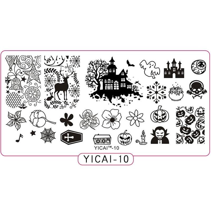 1X Nail Stamping Plates Flower/Bat/Skull/Little Witch/Deer/Pumpkin Halloween Steel Stamp Template Polish Stencils 10