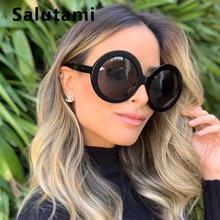Oversize Black Yellow Round Women Sunglasses Luxury Brand Bi