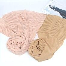New Arrive Wrinkle Shawls Women Pleat Bubble Chiffon Scarf hijab Drape Stitching Muslim Scarves/Scarf 22 color