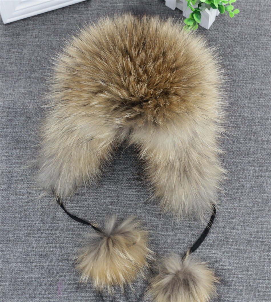 On Sale 100% Real Fox fur Women's Russian Ushanka Aviator trapper snow skiing Hat caps earflap winter raccoon fur Bomber hat 18