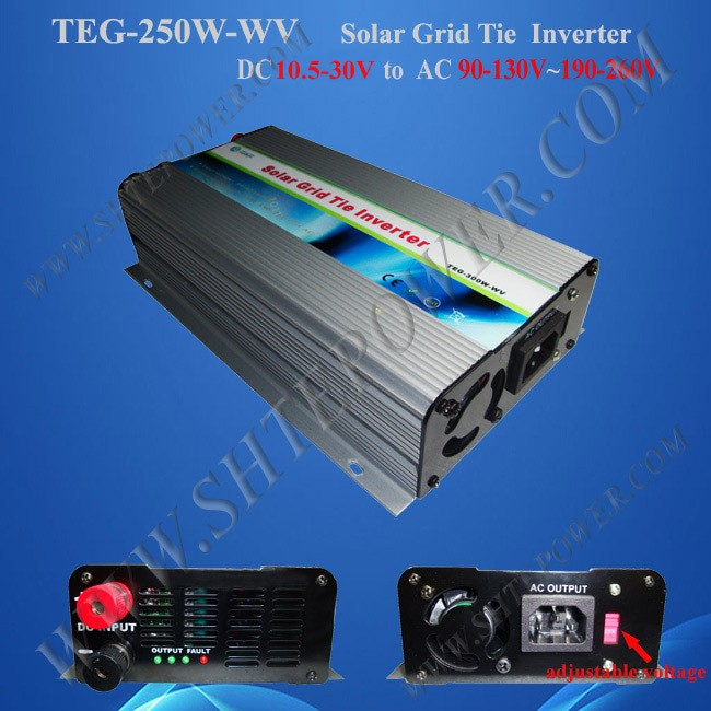 DC 10.5-30V to AC 90-130V 190-260V 250w solar on grid inverter with switch 300w solar grid on tie inverter dc 10 8 30v input to two voltage ac output 90 130v 190 260v choice