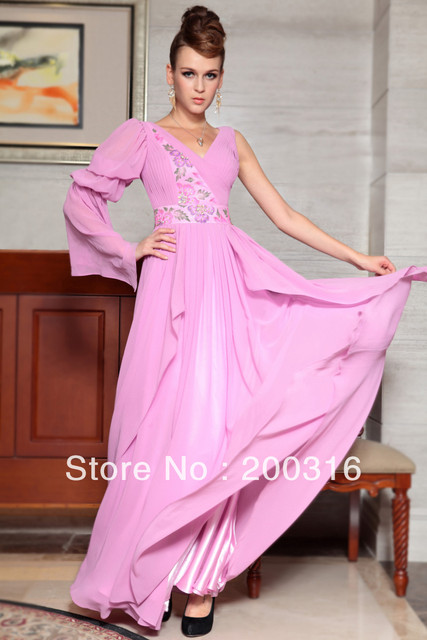 New arrival pink one long sleeve printed flower special occasions dresses Free Shipping 2013 new evening dress