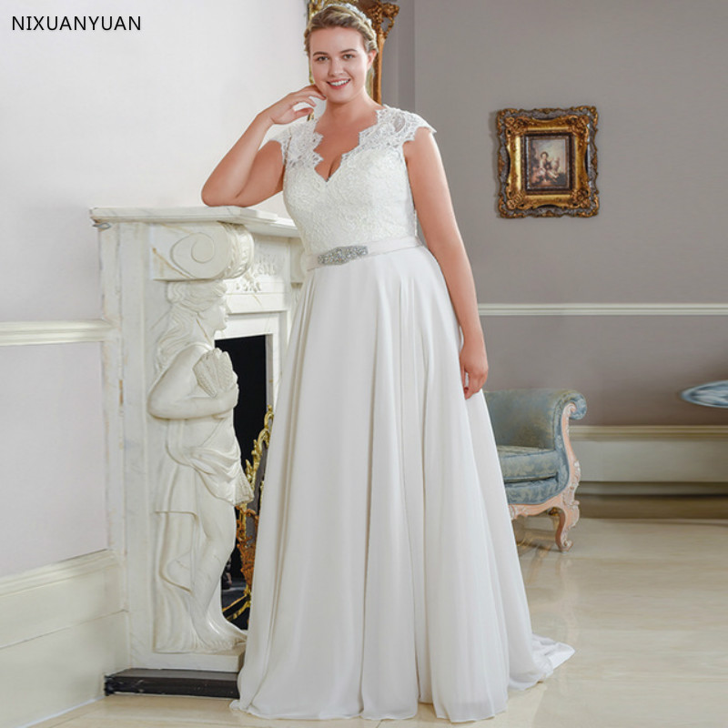 New Arrival Cap Sleeve Chiffon Plus Size Wedding Dresses Sleeveless A-line Lace Bridal Wedding Gowns Robe De Mariage