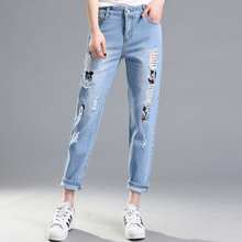 Apparel  hole ripped jeans women pants Cool denim vintage straight jeans for girl Mid waist casual pants female