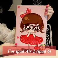 Tablet Case For Apple Ipad 6 Ipad Air 2 Cute Girl Prints PU Leather Protective Cover