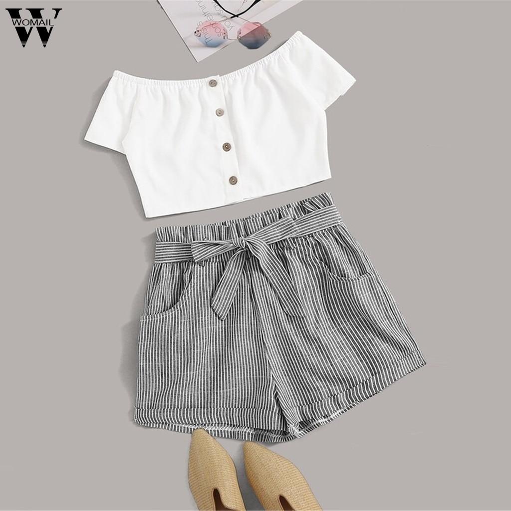 Womail Tracksuit Women Summer Button Office Cute Set TShirt Tops+Striped Mini Short Suit With Belt ELegant Women Suit J718