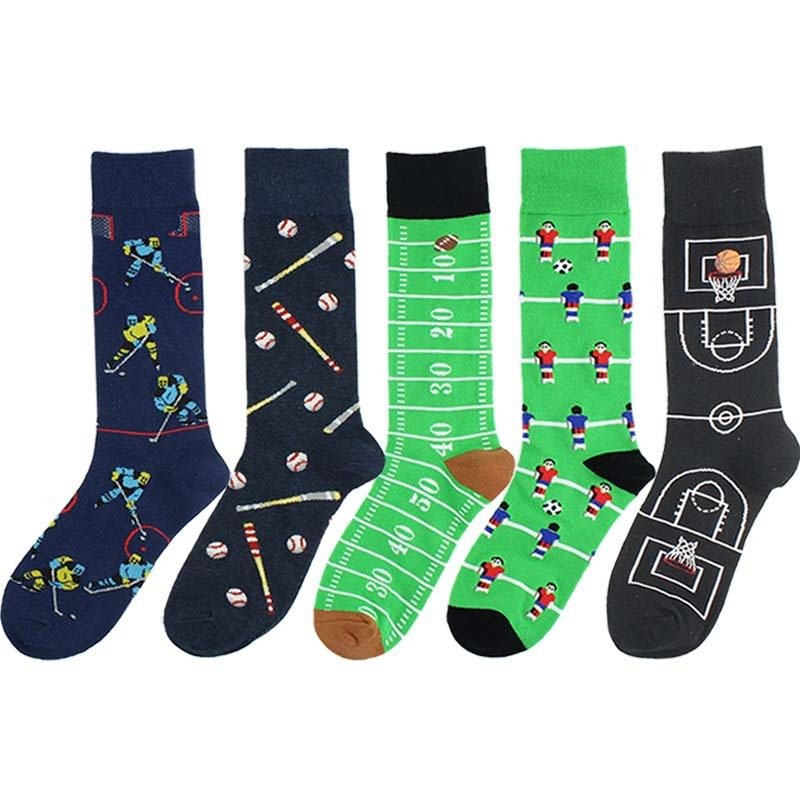 PEONFLY Men's Cotton Funny Socks Harajuku Creative Pattern Happy Socks Dress Wedding Novelty Socks Clacetines Hombre Divertidos