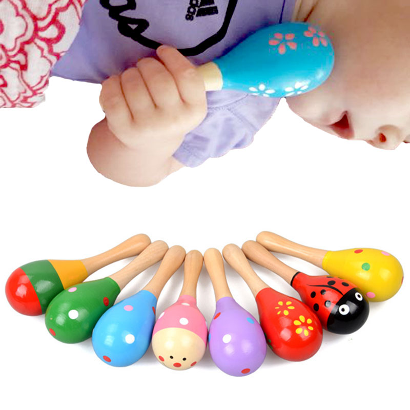 1 Pcs Colorful Wooden Toys Noise Maker Musical toy Baby Rattles Baby For Children Musical Instrument Learnning ZJD
