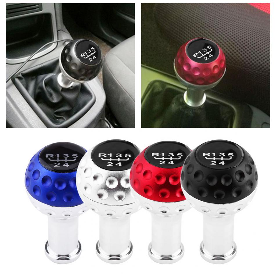 Universal Aluminum 5 Speed Car Manual Gear Shift Knob Head Shifter Lever 4 Colors Car Gear Shift Knob For VW Golf GTI