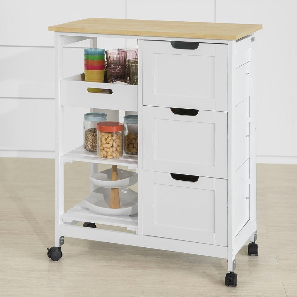 SoBuy®FKW79-W, chariot de cuisine chariot de rangement de cuisine avec 3 tiroirs et plateau amovible