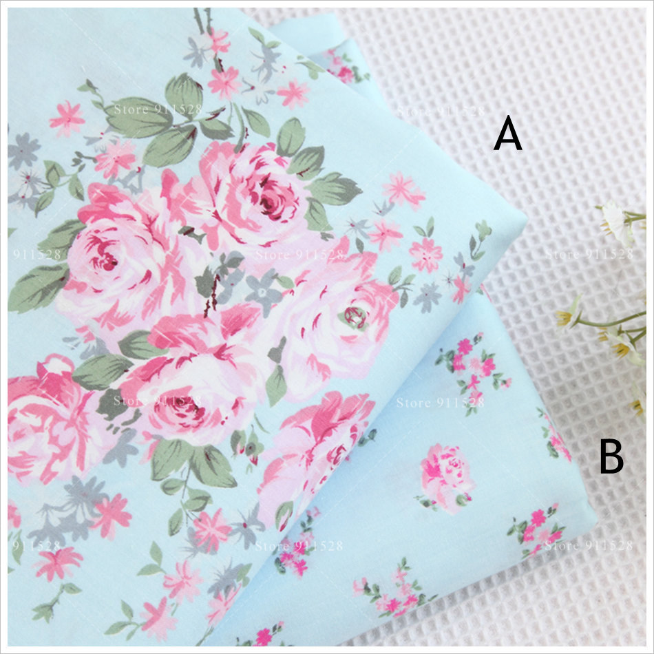 Shabby Chic 100% Cotton Pink Victoria Roses in Light Blue Printed ...