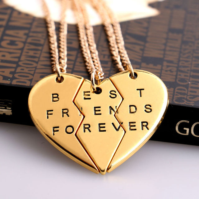 2/3 BFF Broken Heart Necklace Gold Silver Plated Best 2