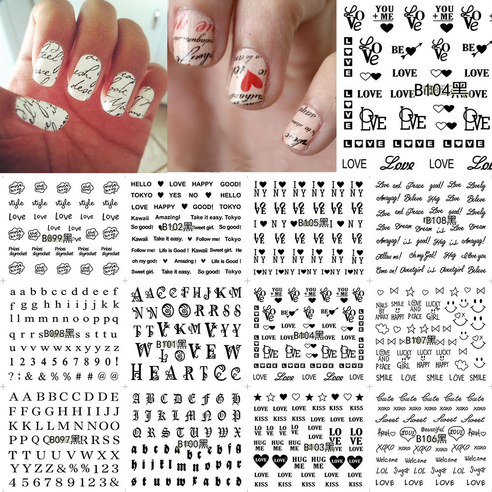 12 Sheets Nail Art Water Transfer Sticker Black English Letter Number Love Decals Stickers Wrap Tips Decoration B097-108 12 sheets halloween nail art water transfer sticker deer full cover decals skull fancy stickers wrap tips decoration a1093 1104