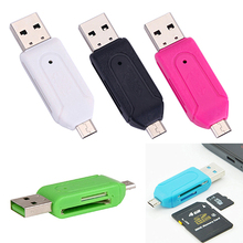 Top Quality Hot Selling 2 in 1 USB OTG Card Reader Universal Micro USB TF SD Card Reader for PC Phone 7BWZ