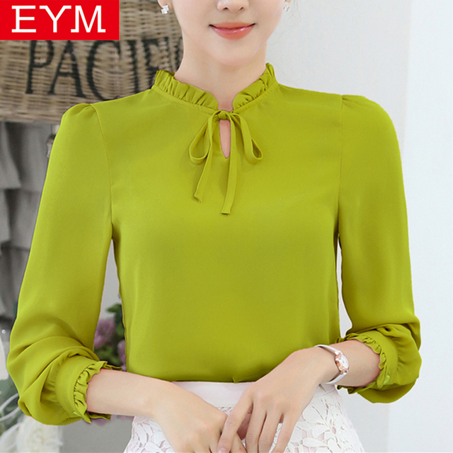 bed04c58a40c8 2018 Summer New Women s Shirt Bow Lotus Leaf Chiffon Blouse Ladies Simple  Youth Style Long Sleeve Shirts Plus Size Tops Clothes