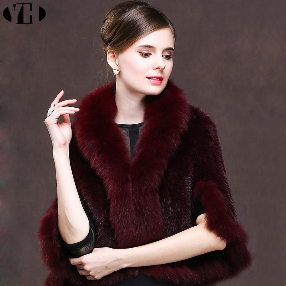 2018 Female Real Fur Poncho Women s Winter Fashion Ladies Knitted Scarves With Fox Fur Luxury