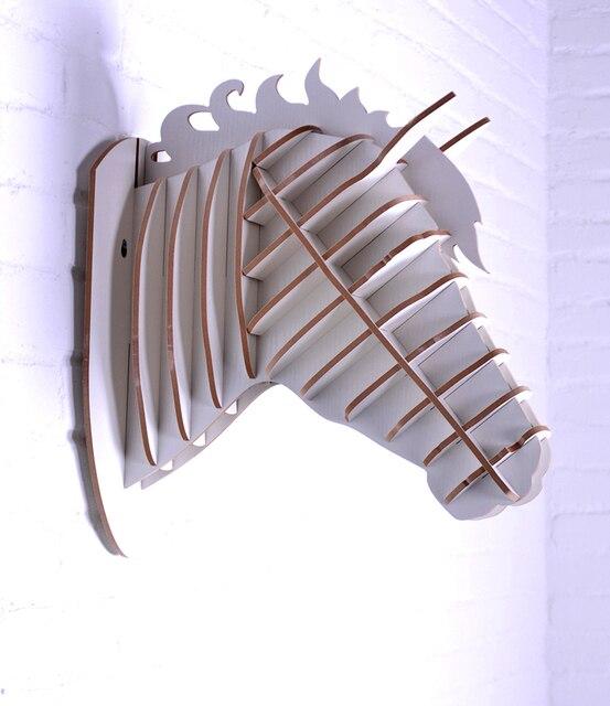 1 Set 62 69 Inch Home Decor Wooden Horse Art Desk Creative Statue Wood