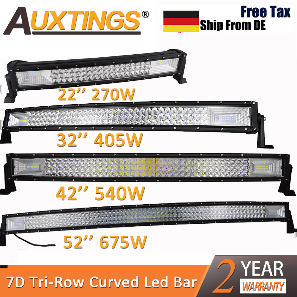 """Auxtings 22"""" 32"""" 42"""" 52"""" inch Curved Led Light Bar Work Light 7D led bar 3-Row 4x4 Truck ATV Car Roof Offroad Driving Light Bar"""