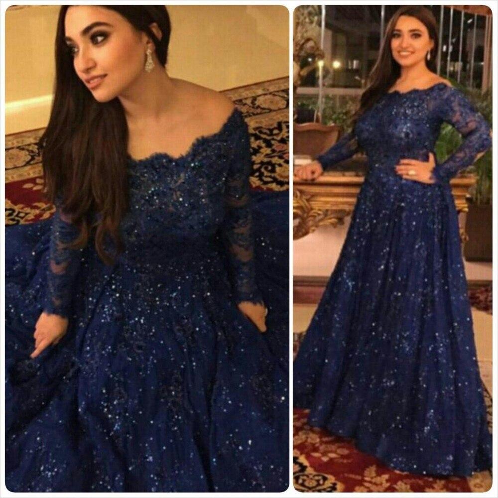 Elegante azul marino vestidos de noche de 2017 del cuello del barco de manga lar