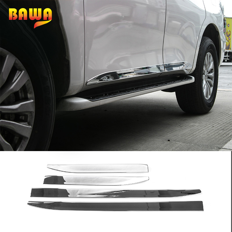 все цены на HANGUP ABS Car Side Door Body Mouldings Protection Liner Garnish Cover Trims Accessories for Nissan Patrol 2017 Up Car Styling онлайн