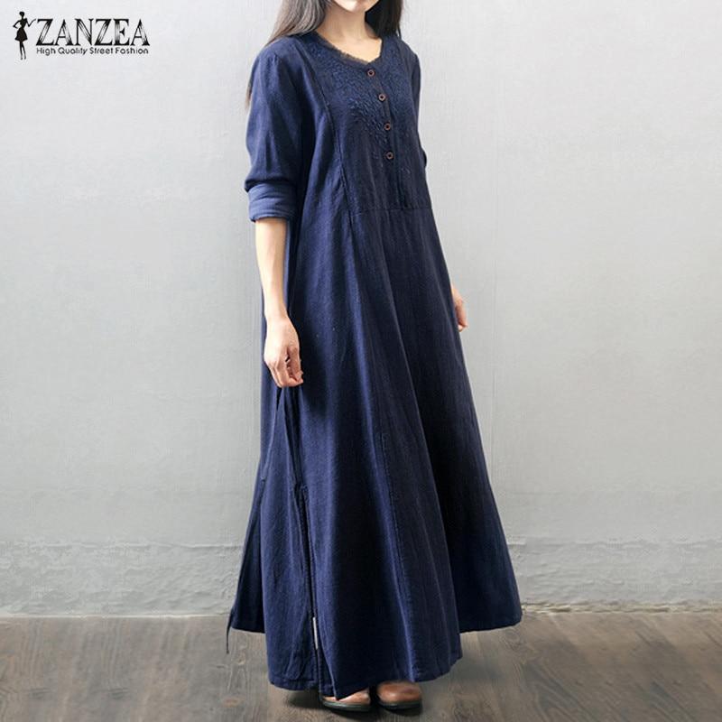 ZANZEA Women Long Maxi Dress 2016 Long Sleeve Buttons Pockets Vintage Casual Loose Solid Long Elegant Robe Vestidos Plus Size