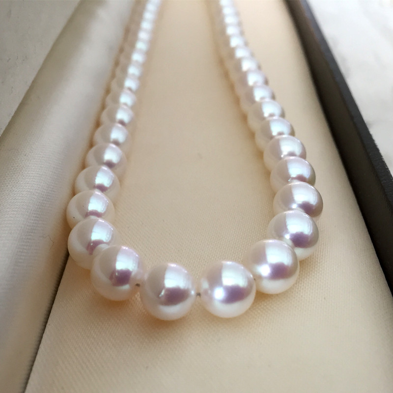 Eternal Women GiftSterling silver real Japan Akoya natural seawater pearl round round flawless flawless 9 10M