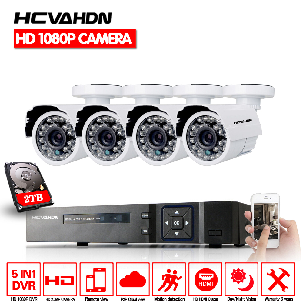 HCVAHDN 3000TVL 1080P HD Outdoor Home Security Camera System 8CH 1080P HDMI DVR CCTV Video Surveillance Kit AHD Camera Set