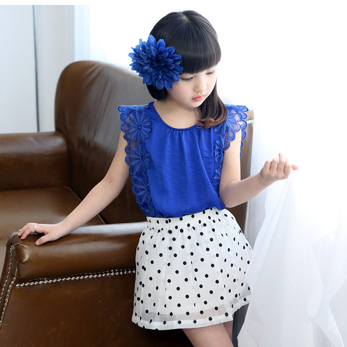 купить 10 Children's clothing 2015 girls summer set Kids fashion elegant chiffon tops+Short skirt  twinset girls princess dress недорого