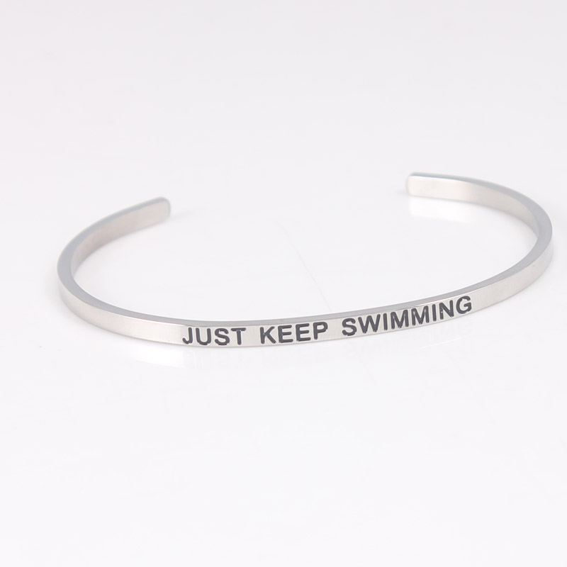 New Arrival Stainless Steel Positive Inspirational Bracelet Quote Cuff Engraved Bracelet & Bangle for women Gift