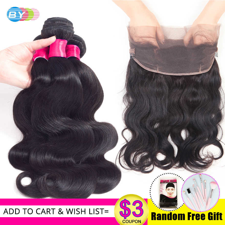 BY BodyWave Bundles With Frontal Closure Human Hair And Frontal Closure Pre Plucked Human Hair With 360 Frontal With Baby Hair