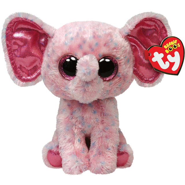 Ty Beanie Boos 6 15cm Ellie Pink Elephant Plush Regular Soft Big
