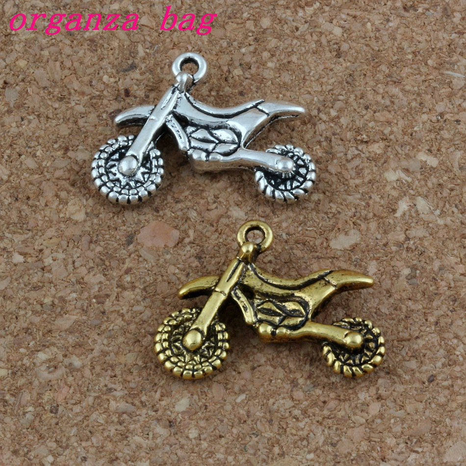 Motorcycle Charms Pendants 100Pcslot 23x17mm Antique Silver  gold Fashion Jewelry DIY Fit Bracelets Necklace Earrings A-281