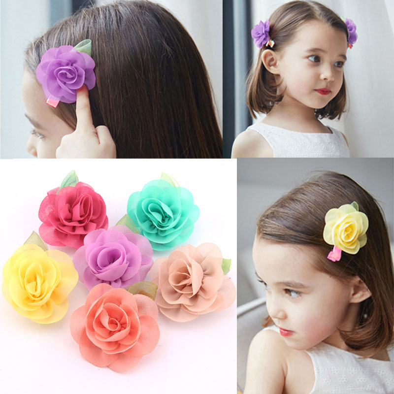 Hot Sale1 Pc Kids Girls Children Beauty Popular Candy Colors Chiffon Flower Barrettes Hairpins Hair Clip Hair Accessories 5 pcs lot hot sale korean hair accessories candy colors small flower hair claws gripper cute kids girls plastic hairpins