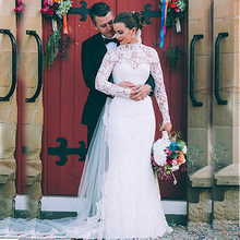 Modest Lace Illusion High Neckline Sheath Wedding Dresses Long Sleeves High Quality Bridal Dress robe de bal longue F95