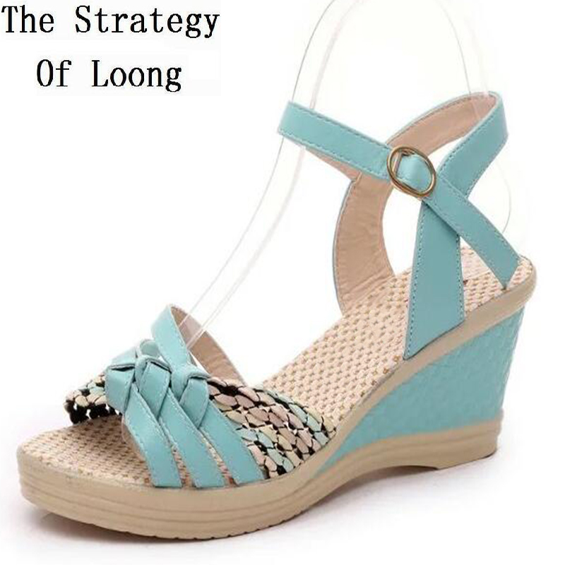 2017 New Arrival Bohemia Summer Women Wedges  Ankle Wrap Open The Toe Fashion Casual Sandals Shoes 35-40 SXQ0612 elegant wedges open toe women sandals ankle buckle rivet shoe women cross tied women casual shoes rome hollowed out lady sandals