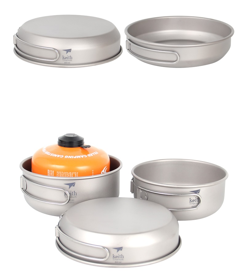 Keith 3pcs Titanium Pan Bowel Pot Set Outdoor Camping Picnic Cooking Kitchen Folding Cookware Ti6053 Sports & Entertainment Camping & Hiking