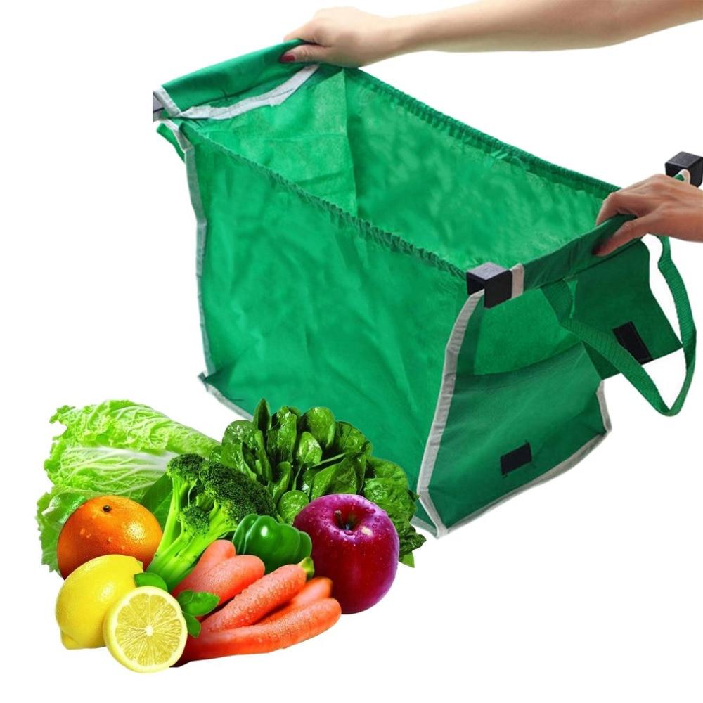 Зеленый Нетканый материал сумка складная сумка супермаркет Сумочка Многоразовые тележка Клип В корзину Бакалея захватить для покупок поле...