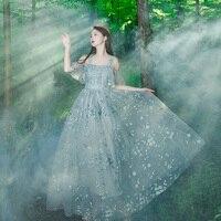 100% 진짜 럭셔리 빛 회색 꽃 잎 자수 슬래시 칼라 러플 긴 중세 드레스 빅토리아