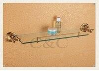 Toalheiros nobre e elegante latão e vidro chapeamento de ouro toalha de banho prateleira suporte 1204