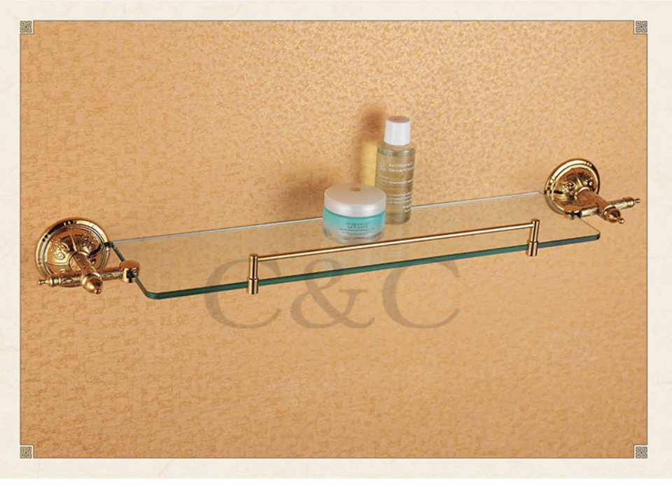 Towel Racks Noble And Elegant Solid Brass And Glass Gold Plating ...