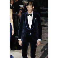 Navy Blue Velvet Men Suits For Prom Party Celebrity Red Carpet Formal Tailored Shawl Lapel Wedding Suits(Jacket+Pants)