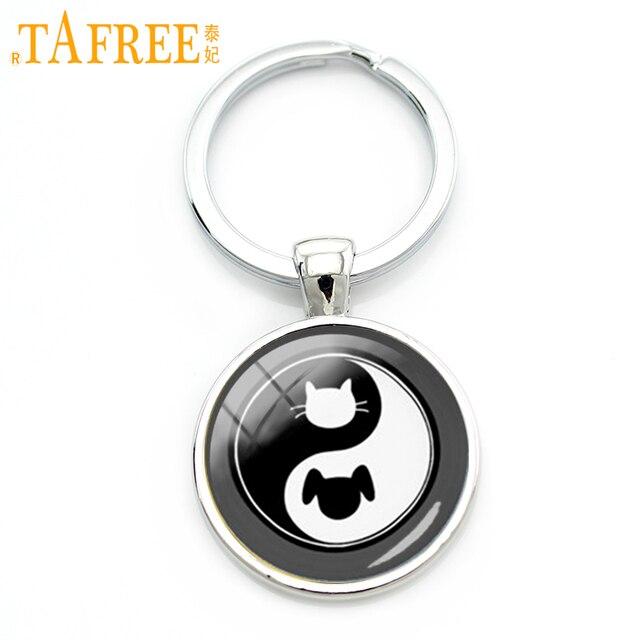 TAFREE Melhor amigo Yin yang tai ji chaveiro padrão bonito do gato do cão do gato e do cão chaveiro artesanal jóias KC656