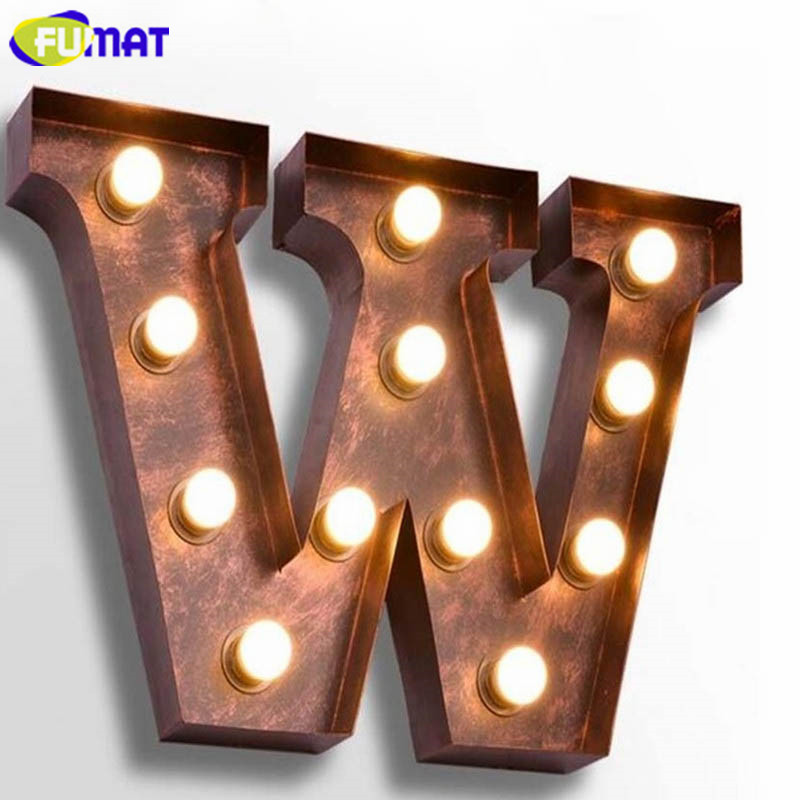 FUMAT Letters W Wall Lamps Vintage American Personality Study Iron Wall Lights Bar Cafe Billboard Metal Alphabet Sconces wall lamp vintage wall lamp iron wall lights -