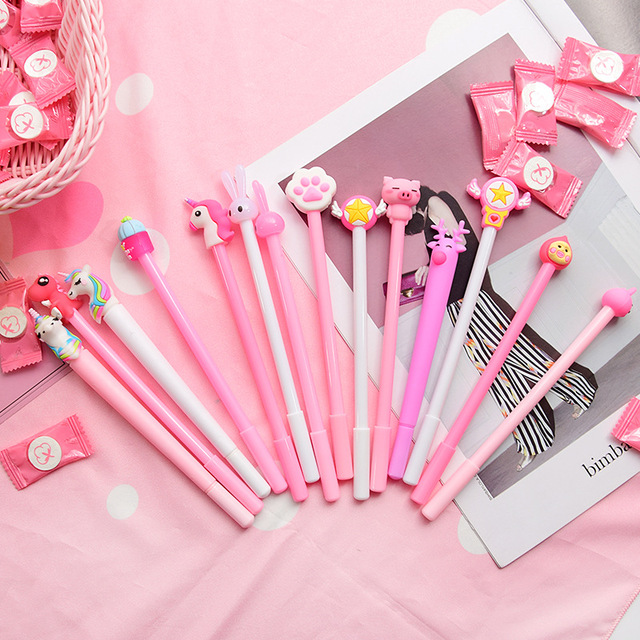 1PC 0.5mm Cute Creative Unicorn Gel Pens Signature Pen Escolar Papelaria School Office Stationery Supply Promotional Gift Kawaii Banner Pens