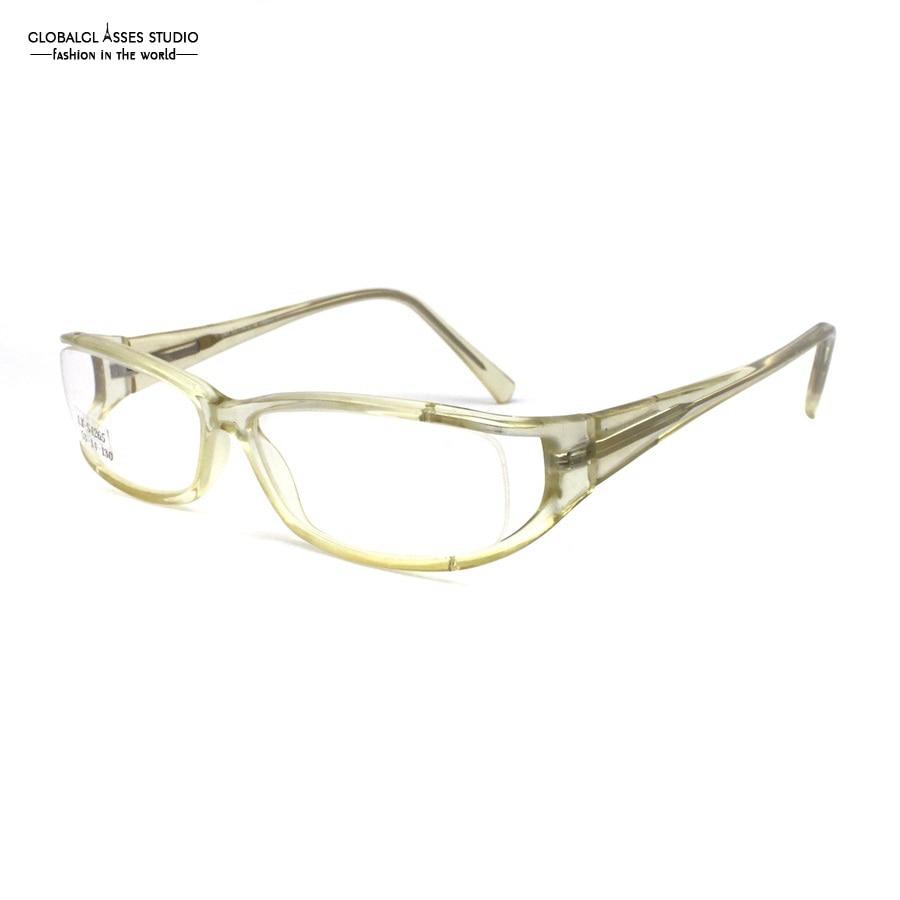 9414f33c3155a Laboratório Lente Acetato Óculos de Armação Mulheres   Homens de Cristal  Geométrica Cor clara Chifre menos Flexível Rx Optical Óculos Limpar Lens  LX-S4265