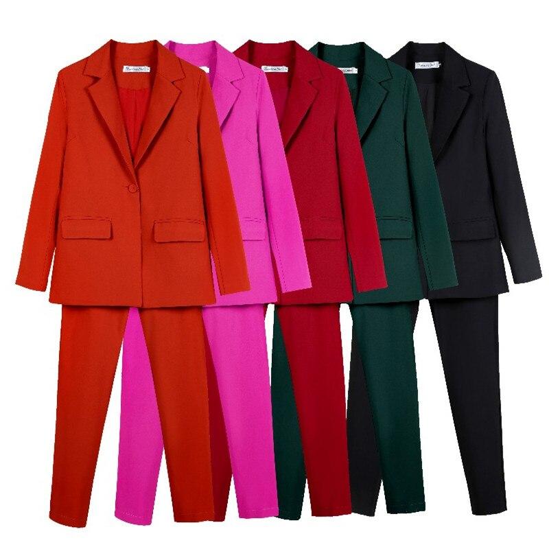 Work Pant Suits OL 2 Piece Set for Women Business interview suit set uniform smil Blazer and Pencil Pant Office Lady suit